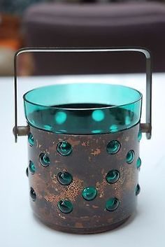 Vintage-scandinavian-green-glass-and-copper-ice-bucket-Nanny-Still-era-and-style Ice Buckets, Be Still, Cookware, Vases, Scandinavian, Barware, Arts And Crafts, Copper, Dinner