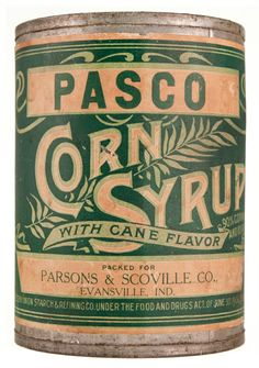 This can dates from around 1910-15. Parsons & Scoville Co., commonly referred to as Pasco, owned the wholesale grocery warehouse. The downtown Evansville building was later known as the Curtis Building and is now called the Landmark Center.