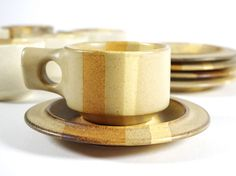 Fabrik Foxfire Salishan Cups and Saucers, 12 pc Set, 1970s Stoneware, Cream, Tan and Brown by TheRealmCollectibles