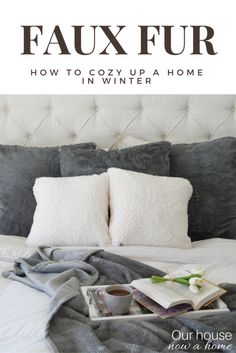 Who knew these pillows and blankets were faux fur! Loving the simple way they warm up a home for winter! Although they may make you want to hibernate all season and huddle in the coziness until winter is over. The light and bright bedroom decor is warmed up perfectly for the winter season.