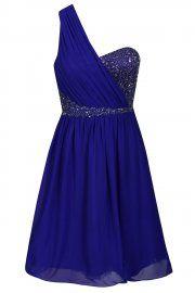 Little Mistress Cobalt One Shoulder Embellished Prom Dress