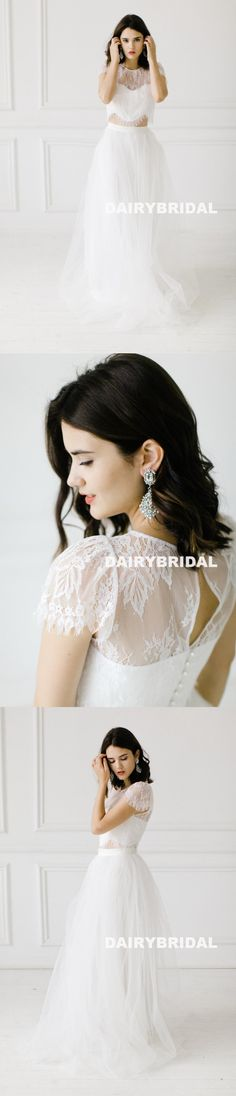 Two Pieces Cap Sleeve Lace Top White Lace Long A-Line Tulle Backless Wedding Dresses, D840 #weddingdresses #dairybridal
