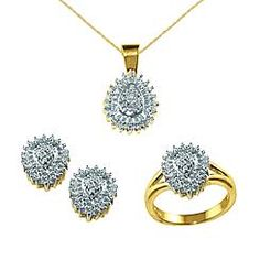 INCREDIBLE BUY! 18kt Gold over Sterling Silver Ring, Pendant, and Earring Set