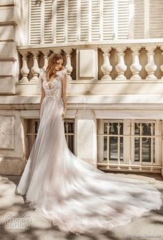 victoria soprano 2019 bridal sleeveless ribbon straps v neck heavily embellished bodice romantic soft a  line wedding dress keyhole back chapel train (16) mv -- Victoria Soprano 2019 Wedding Dresses | Wedding Inspirasi #wedding #weddings #bridal #weddingdress #bride ~