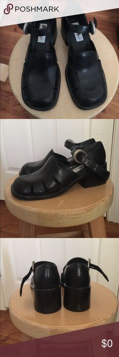 Mary Jane style black leather upper shoes Leather black shoes, Mary Jane Style, block heels, made in Brazil, size 8 Diba Shoes Heels