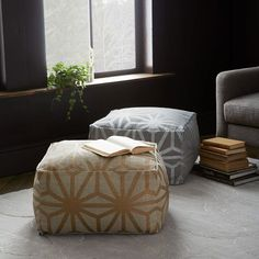 Star Printed Cotton Dhurrie Pouf | West Elm