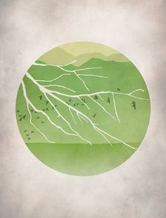 Asian Decor, Japanese Print, Green, Landscape Art,  Mountains Birds Trees