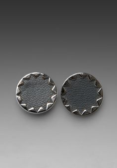 House of Harlow REVOLVE Exclusive Grey Leather Sunburst Earrings in Silver