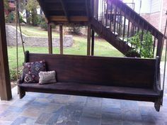 My dad and I made this swing. It is an old church pew!!!!