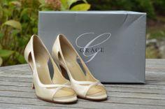 Grace Sienna Ivory Silk Wedding Shoes Open Toe Pumps sz 6.5 $130 #PumpsClassics
