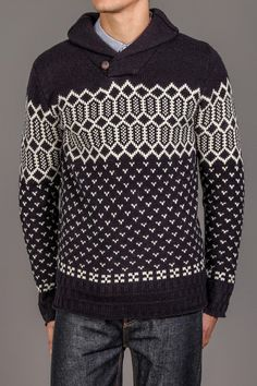 WESC Finley Shawl Neck Sweater Dark Navy