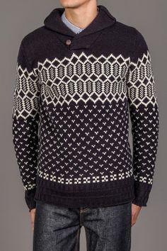 WESC Finley Shawl Neck Sweater Dark Navy