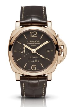 Officine Panerai Luminor 1950 8 Days GMT Oro Rosso PAM00576 - золотые часы унисекс - розовое золото