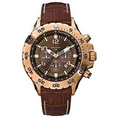 NST Leather Chronograph Watch. This watch makes an instant impression. With a gleaming rose gold stainless steel top ring and a crocodile-embossed leather strap, it's a sharp style to finish your look.