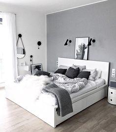 25 black and white bedroom interior design trends for 2019 - bedroom furniture ideas White Bedroom Decor, Room Ideas Bedroom, Home Bedroom, Modern Bedroom, White Bedrooms, Bedroom Black, Grey Room Decor, Light Gray Bedroom, Bed Room White