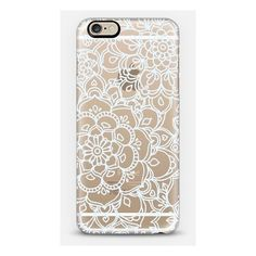 iPhone 6 Plus/6/5/5s/5c Case - White Lace Doodle ($35) ❤ liked on Polyvore featuring accessories, tech accessories and phone case