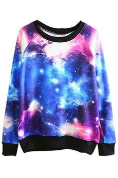 galaxy sweater romwe sweatshirt
