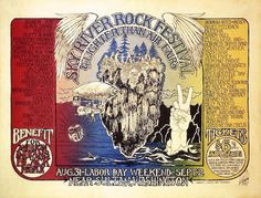 Walt Crowley designed two of the four posters created for the Sky River Rock Festival in including this one. The outdoor festival is thought to have given East Coast promoters the idea for Woodstock, which was held in Festival Posters, Concert Posters, Music Posters, Where Is America, Rock Festivals, Poster Pictures, Vintage Posters, Vintage World Maps, Poster Prints
