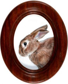 Miniature oil painting of Rabbit by Rebecca Luncan, August