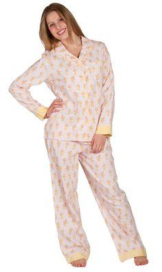 """Munki Munki Women's """"Pink Bananas"""" Flannel Pajama"""