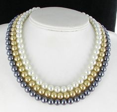 Gray Tan Cream Glass Pearl Necklace Multi by vintagejewelrylane, $19.99