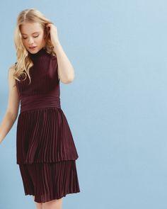Pleated sleeveless dress - Maroon | Dresses | Ted Baker UK