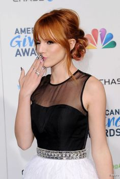 Bella Thorne wore her long red hair in a romantic chignon at the 2012 American Giving Awards held at the Pasadena Civic Auditorium in Los Angeles on Teen Hairstyles, Celebrity Hairstyles, Loose Chignon, Long Red Hair, Bella Thorne, Fall Hair, Medium Hair Styles, Hair Color, Romantic