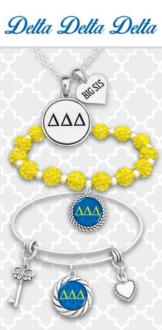 Tri Delta jewelry with custom charms for initials,  Big Sis, Little, Mom, and more! - $9.98 Find them in  21 different sororities!