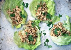 Thai Larb  In this super-flavorful dish, chicken breasts are chopped with aromatics in a food processor, then sautéed and served in crisp lettuce cups.