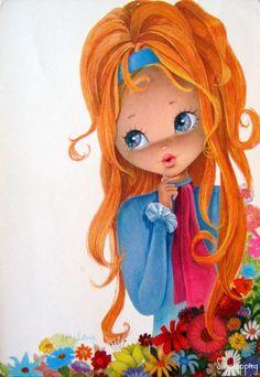 Vintage Big Eyed Girl Postcard ~ by Victoria Vintage Pictures, Vintage Images, Cute Pictures, Vintage Cards, Vintage Postcards, Halloween Vintage, Retro Kids, Whimsical Art, Cute Illustration