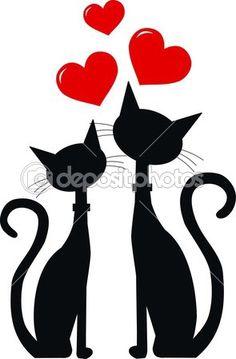 Dois gatos no amor — Ilustração de Stock #12754076