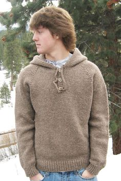 Knitting Pure Simple 105 Neckdown Hooded Pullover for Men Knitting Pattern #KnittingPureSimple