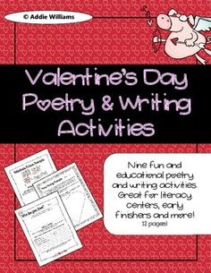 Valentine's Day Poetry and Writing Activities - 8 different activities for grades 3-5 for Valentine's Day. ($)
