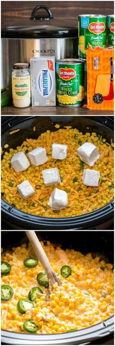 This spicy side dish would be a perfect pair f… Slow Cooker Cheesy Jalapeno Corn. This spicy side dish would be a perfect pair for almost any main dish! Filet Mignon Chorizo, Crockpot Recipes, Cooking Recipes, Corn Crockpot, Potluck Slow Cooker Recipes, Crockpot Corn Casserole, Crockpot Side Dishes, Hamburger Recipes, Meal Recipes
