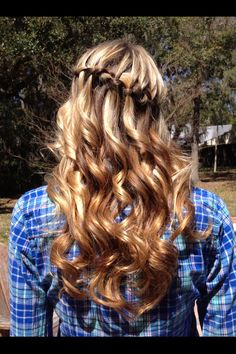 Prom hair curly waterfall braid blonde wedding hair