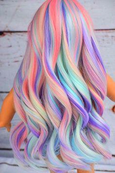 Custom Doll Wig for 18 American Girl Doll Heat Safe Cute Hair Colors, Pretty Hair Color, Beautiful Hair Color, Hair Dye Colors, Hair Color Blue, Colored Hair, Exotic Hair Color, Color Streaks, Rainbow Hair Colors