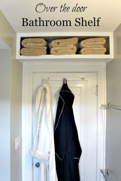 Bathroom Storage for Small Bathroom.  DIY a small shelf for additional storage.