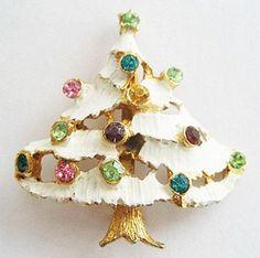 Rhinestone & Enamel Snow Covered Christmas Tree Holiday Pin from jewel-o-rama on Ruby Lane