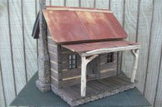 Log Cabin Dollhouse Miniature Room Box 1:12 Primitive Lincoln Hand Carved  #Unbranded