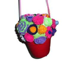 Flower Pot with Felt Flowers Purse Easter by GourmetHandbags, $25.00