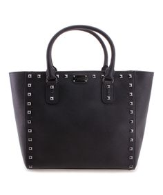 Black Stud-Accent Leather Tote