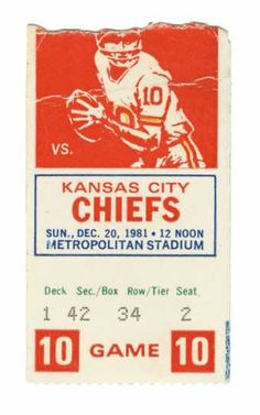 Ticket from the last game played by the Minnesota Vikings at old Metropolitan Stadium, Dec. 20, 1981.