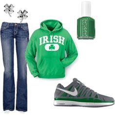 """""""St. Patrick's Day!"""" comfy outfit with shamrock earrings and green nails- by semerson on Polyvore"""