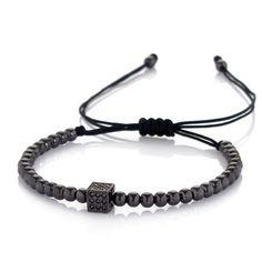 ZENGER-Fashion-Mans-Rhodium-Plated-Disco-Zircon-Helmet-Beaded-Macrame-Bracelet