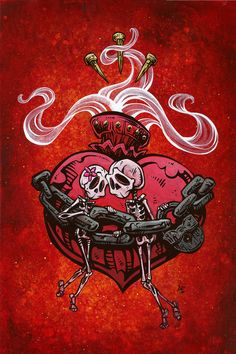 The skeleton couple are gleefully bound together forever...literally and figuratively. Painting Process The red hot background was painted with several layers of acrylics, while the boney lovers were