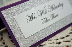 Purple Wedding Escort Card / Place Card Full of Bling, Sparkle, and Dazzle-Custom & Handmade by InviteBling on Etsy https://www.etsy.com/listing/160199287/purple-wedding-escort-card-place-card