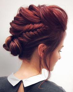 Feminine Braided Updo Wedding Hairstyles,braided updo hairstyle ,unique wedding hairstyles,hairstyle ideas #weddinghair #hairstyles #updos