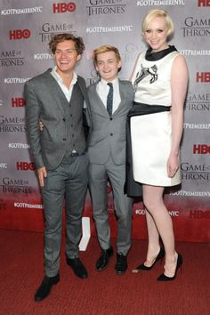 Finn Jones (Loras Tyrell), Jack Gleeson (Joffrey) and Gwendoline Christie (Brienne of Tarth) at Game of Thrones season 4 red carpet premiere