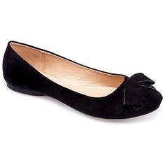 MACHI Womens KALA-3 Black PU Bow Ballerina Flat 7.5 : Amazon.com found on Polyvore featuring shoes, flats, ballet flat shoes, skimmer flats, ballet pumps and women shoes