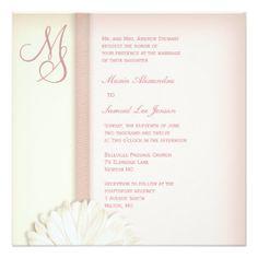 "Summer Wedding Daisy Floral Cream Pink 5.25"" Square Invitation Card"